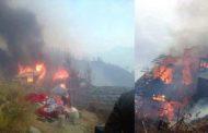 चौपाल में भीषण अग्निकांड, दस घर राख